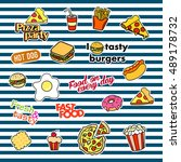 fashion patch badges with... | Shutterstock . vector #489178732