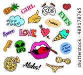 fashion patch badges. big set.... | Shutterstock . vector #489178765