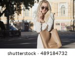 young happy blonde woman... | Shutterstock . vector #489184732