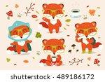 vector autumn fox cartoon set   Shutterstock .eps vector #489186172