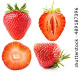 collection of strawberries... | Shutterstock . vector #489187396