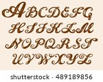 calligraphy alphabet typeset... | Shutterstock .eps vector #489189856