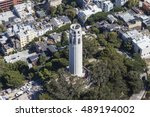 Aerial View Of Coit Tower Park...