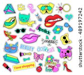 fashion patch badges. cats and... | Shutterstock . vector #489197242