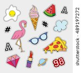 fashion patch badges with... | Shutterstock . vector #489197272