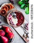 semolina porridge with... | Shutterstock . vector #489208696