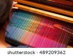 weaving shuttle on the color... | Shutterstock . vector #489209362