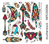 set of doodles in a bohemian... | Shutterstock .eps vector #489230086