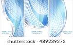 set of blue hi tech backgrounds ... | Shutterstock .eps vector #489239272