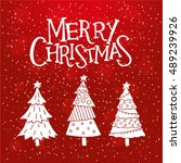 merry christmas red card with... | Shutterstock .eps vector #489239926