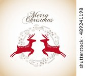 merry christmas animal... | Shutterstock .eps vector #489241198