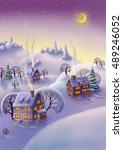 winter landscape  christmas... | Shutterstock . vector #489246052