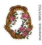 vector color roses frame... | Shutterstock .eps vector #489247012