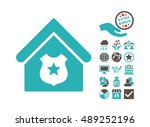 police office icon with bonus... | Shutterstock .eps vector #489252196