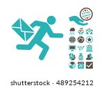 mail courier icon with bonus... | Shutterstock .eps vector #489254212