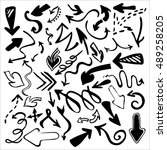 hand drawn vector arrows icons... | Shutterstock . vector #489258205