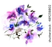 floral background with violet... | Shutterstock . vector #489258802
