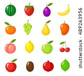 fruits on white background ... | Shutterstock .eps vector #489263956