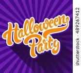 halloween party hand drawn... | Shutterstock .eps vector #489267412