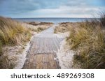 beach of baltic sea in cold... | Shutterstock . vector #489269308