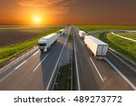 many delivery trucks driving...   Shutterstock . vector #489273772