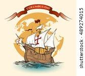 happy columbus day illustration.... | Shutterstock .eps vector #489274015