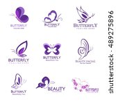 set of butterfly logo design...
