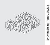 alphabet blocks. vector. line...