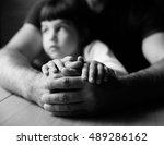 children's hands and the hands... | Shutterstock . vector #489286162