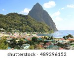 small town soufriere in saint... | Shutterstock . vector #489296152