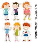 sticker set of happy children...   Shutterstock .eps vector #489300478