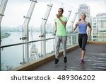 smiling young man and woman... | Shutterstock . vector #489306202