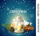 christmas greeting card with... | Shutterstock .eps vector #489311056