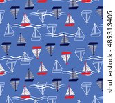 sailing boat pattern   Shutterstock .eps vector #489313405