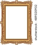 gold photo frame with corner... | Shutterstock .eps vector #489320932