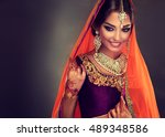 portrait of beautiful indian... | Shutterstock . vector #489348586