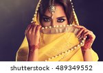 beautiful indian girl . young... | Shutterstock . vector #489349552