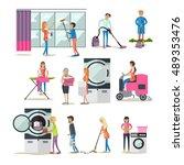 vector set of cleaning people... | Shutterstock .eps vector #489353476