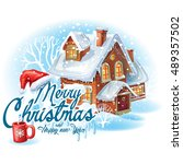 christmas sticker with the... | Shutterstock .eps vector #489357502