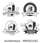 vintage laundry service dry... | Shutterstock .eps vector #489361432