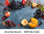 autumn fruits and vegetables on ...   Shutterstock . vector #489362182