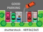 city parking vector web banner. ... | Shutterstock .eps vector #489362365
