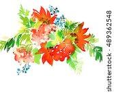 christmas card. watercolor... | Shutterstock . vector #489362548