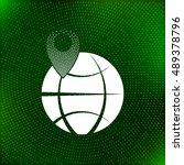 pin on globe icon vector...   Shutterstock .eps vector #489378796