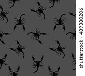 large scorpion silhouette... | Shutterstock . vector #489380206
