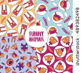 set of patterns with cute... | Shutterstock .eps vector #489382498