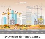 construction site industrial... | Shutterstock .eps vector #489382852