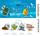 professional fishing banners...   Shutterstock .eps vector #489384076