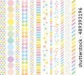set of pastel rainbow lines. | Shutterstock .eps vector #489393196