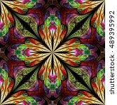 multicolored flower pattern in... | Shutterstock . vector #489395992